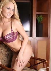 Sexy Blonde Hottie Shannyn Xo Strips And Teases In Her Plum Lingerie - Picture 4